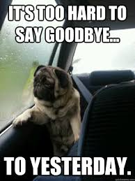 It's too hard to say goodbye... to yesterday. - Introspective Pug ... via Relatably.com
