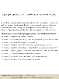 Top 8 post production coordinator resume samples In this file, you can ref  resume materials ...