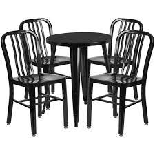 slat back chairs. 24\u0027\u0027 Round Black Metal Indoor-Outdoor Table Set With 4 Vertical Slat Back Chairs