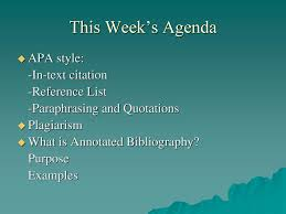 This Weeks Agenda Apa Style In Text Citation Reference List