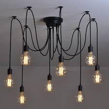 modern nordic industrial edison chandelier light vintage spider pendant lamp loft antique adjule diy edison home lighting pull down pendant light