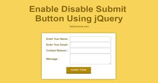 Submit Form Enable Disable Submit Button Using Jquery