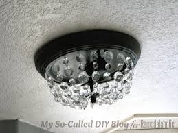 pottery barn outdoor chandelier lighting update a dome ceiling light with faceted crystals make knockoff crystal