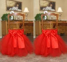 red tutu tulle chair sashes satin bow made to order chair skirt lovely ruffles wedding decorations chair covers birthday party supplies tulle chair sashes