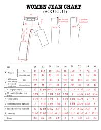 Bull It Jeans Size Chart Womens Boot Cut Size Chart