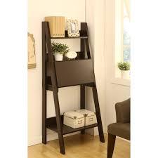 ladder bookshelf and desk dark brown solid wood three tier shelf having fold puter oragne bookcase