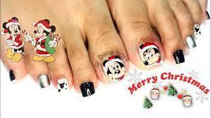 Hướng dẫn cách vẽ hoạt hình chuột mickey lên móng chân | Christmas Nails