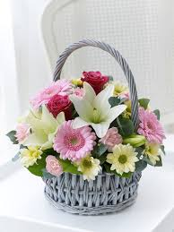 Basket Flower Decoration This Delicate Basket Arrangement With Its Gentle Colours And Soft