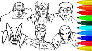 Thor infinity war coloring pages. Spiderman Iron Man Hulk Wolverine Coloring Pages Colouring Pages For Kids With Colored Markers Youtube
