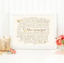 Personalised Golden 50th Wedding Anniversary Print By More Than