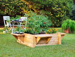 image of elevated garden beds along fence