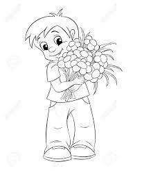 花束とかわいい男の子塗り絵の黒と白のイラスト