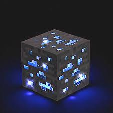 details about minecraft blue diamond ore light up nightlight mine craft xmas gift