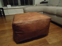tan leather ottoman. Contemporary Tan Image Is Loading NewAntiqueTanLeatherOttomanorSofaFootstool Inside Tan Leather Ottoman I