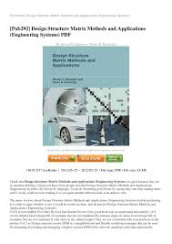 Design Structure Matrix Methods Review Design Structure Matrix Methods And Applications