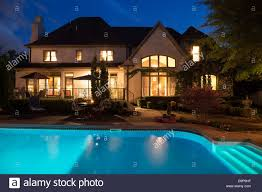 home swimming pools at night. Luxury Home With Swimming Pool At Night, USA Pools Night