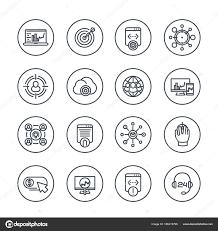 サークルで Seo ライン アイコン検索エンジン最適化 ウェブサイトの分析
