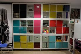 an ikea shelving unit into a tetris game showpiece