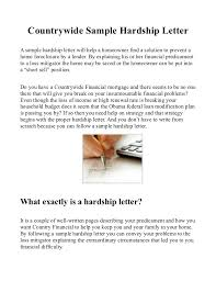 Country Sample Hardship Letter