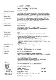 Sample Resume For Housekeeping Supervisor Hospital Housekeeping