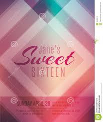 Birthday Invitation Flyer Template Sweet Sixteen Party Invitation Flyer Template Stock Vector 17