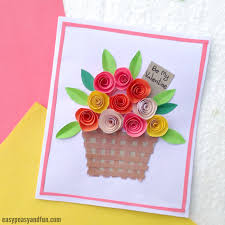 Flower Paper Craft Diy Rolled Paper Roses Valentines Day Or Mothers Day Card