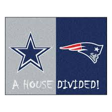 fanmats nfl cowboys patriots gray house divided 3 ft x 4 ft area