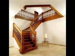 Kerala style wooden staircase designs modern