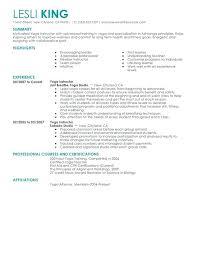Group Fitness Instructor Resume Yoga Instructor Resume Sample Group
