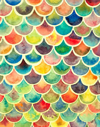 items similar to rainbow scales 8x10 painting rainbow watercolor art geometric pattern art modern wall art colorful fish scale painting mermaid tail