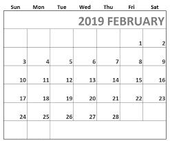 Printable Fillable Calendar February 2019 Free Calendar Templates