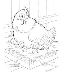 Small Picture Farm Animal Coloring Pages Mother hen sitting on her nest