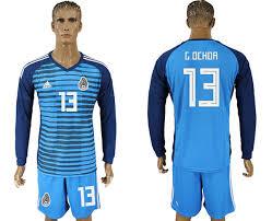 Sleeve 13 2018 Jersey World Blue Goalkeeper Fifa Soccer Lake G Long Mexico Ochoa Cup