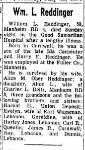 WILLIAM L REDDINGER - PARENTS HARRY REDDINGER / IDA CARPENTER -  Newspapers.com