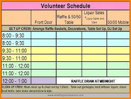 volunteer template volunteer schedule template template business