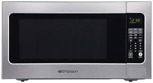 emerson 2 2 cu ft 1200 watt countertop sensor cooking microwave oven in stainless steel