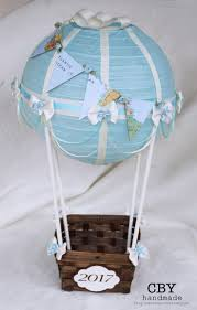 Light Blue and Ivory Hot air balloon centerpiece with Map bunting // Baby  Shower Centerpiece