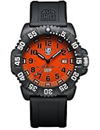 amazon co uk luminox watches luminox men s scott cassell 44mm black silicone band polycarbonate case quartz orange dial watch 3059set