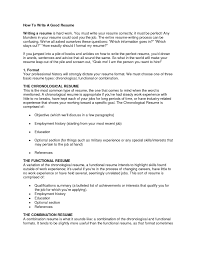 How To Write A Excellent Resume Updated An Example Of A Good