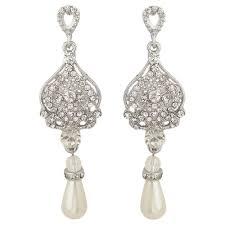 chandelier pearl drop bridal earrings dangling wedding earrings mock ivory pearl sparkling vintage cz crystal long earrings