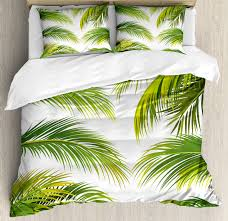 palm leaf king size duvet cover set palm leaves growth jungle lush foliage summer forest botany decorative 3 piece bedding set with 2 pillow shams