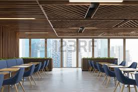 modern wooden chair front view. Front View Of A Modern Cafe Or Coffee Shop Interior With Dark Wooden Walls, Chair