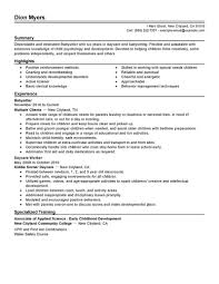 Babysitter Resume Objective No Experience Work Example Resumes
