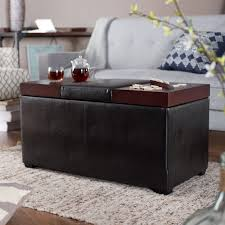 coffee table living room ottoman storage black leather feat wood table rectangle light wood coffee table