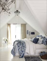 blue and white decor attic bedroom