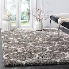 safavieh hudson shag collection sgh280b grey and ivory moroccan ogee plush area rug 6u0027 plush area rugs73 rugs