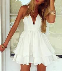 <b>Sexy Double Layered</b> Mini Dress - Solid White / Plunging Neckline
