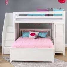 white bunk bed with stairs.  Stairs OXFORD 1 WHITE  TWIN LOFT BUNK BED WITH STAIRS U0026 STORAGE Inside White Bunk Bed With Stairs E