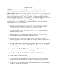 Cover Letter Research Assistant Sample Resume Clinical Research