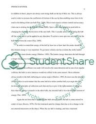 The Physics Of Pool Essay Example Topics And Well Written
